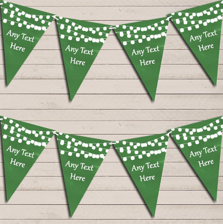 Deep Green Watercolour Lights Wedding Anniversary Bunting Garland Party Banner