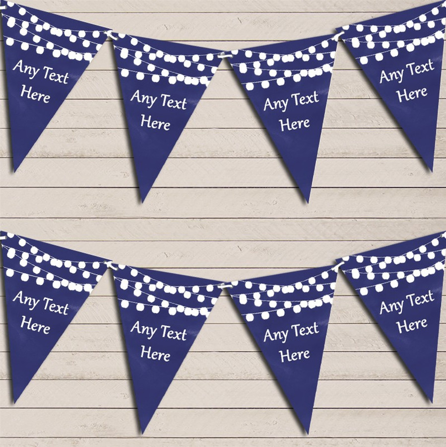 Navy Blue Watercolour Lights Wedding Anniversary Bunting Garland Party Banner