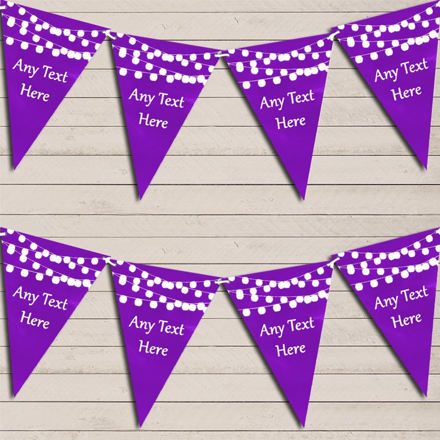 Purple Watercolour Lights Wedding Anniversary Bunting Garland Party Banner