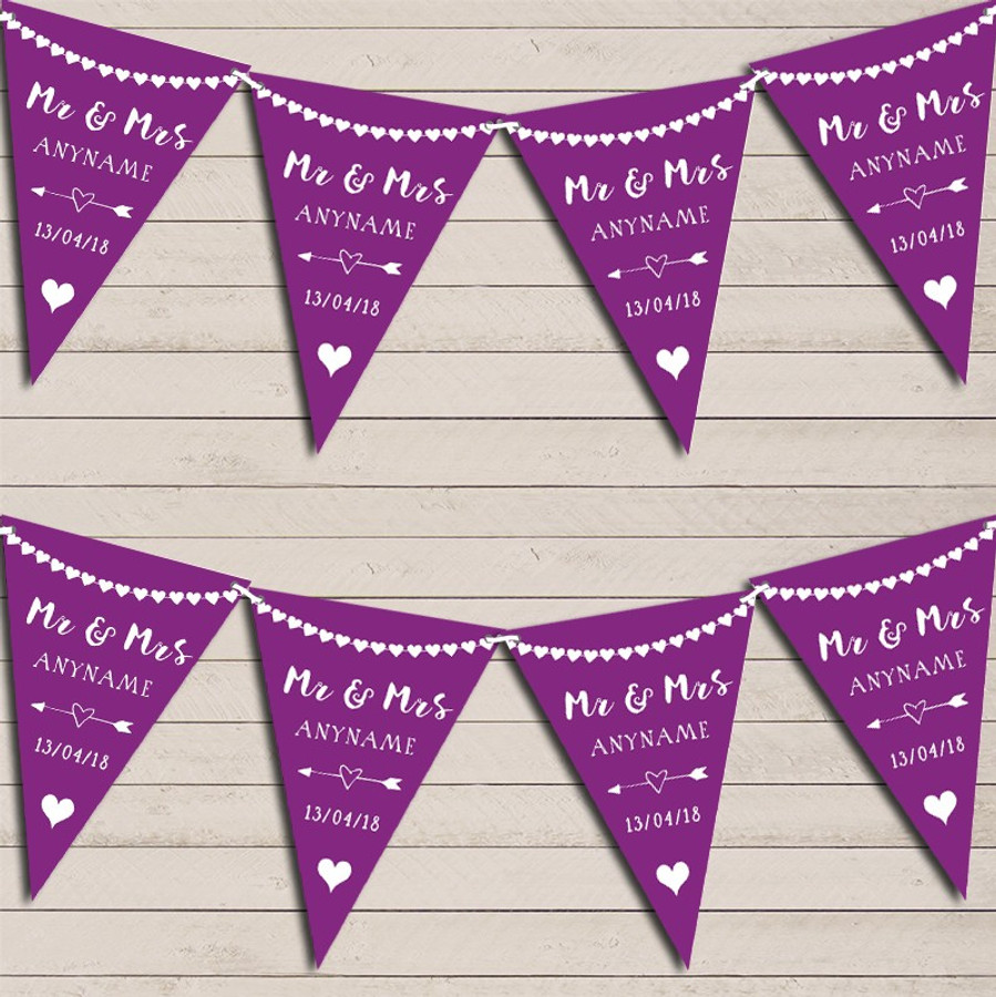 Heart Mr & Mrs Grape Purple Wedding Anniversary Bunting Party Banner