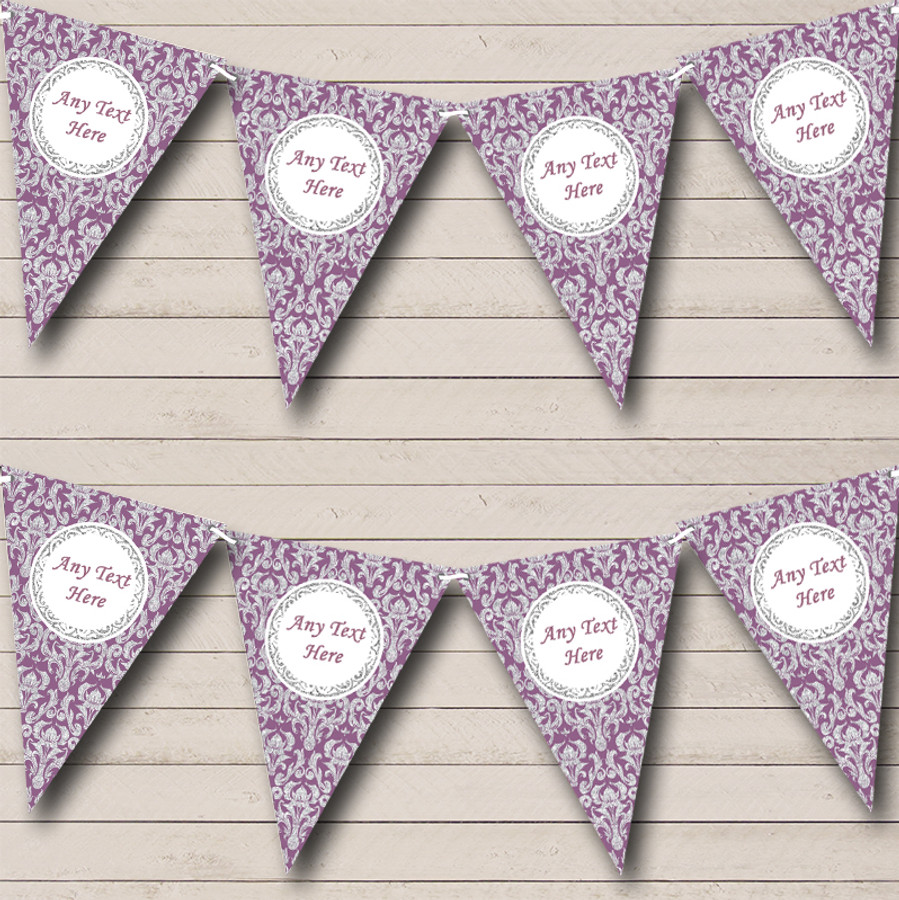Purple And Silver Vintage Damask Birthday Party Bunting