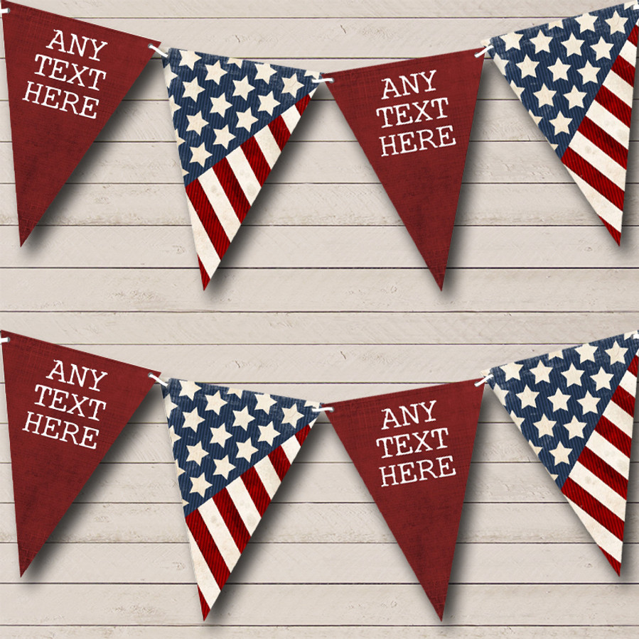 USA American Flag Stars Stripes 4th July Birthday Party Bunting