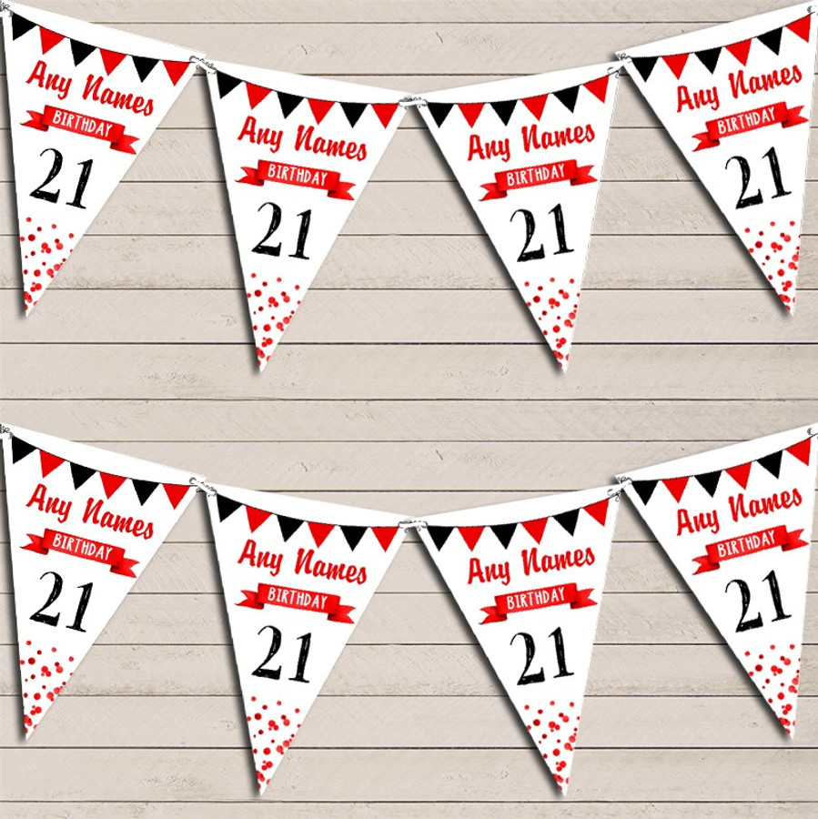 Any Age Birthday 18Th 21st 30th 40th 50th 60th Red & Black Birthday Bunting
