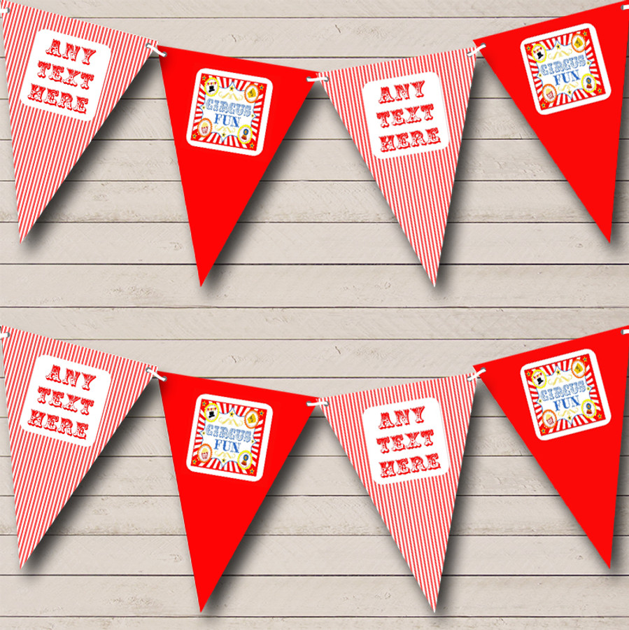 Red And White Circus Stripes Carnival Fete Street Party Bunting