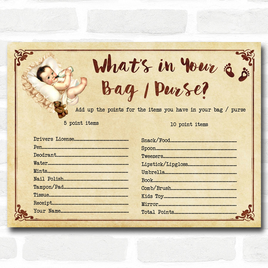 Vintage Baby Shower Games What's in Your Bag Purse Cards