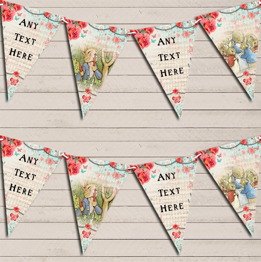 Peter Rabbit Rustic Vintage Shabby Chic Floral Children's Birthday Bunting