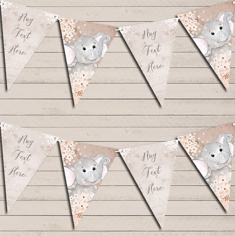 Vintage Woodland Baby Elephant Rustic Children's Birthday Bunting