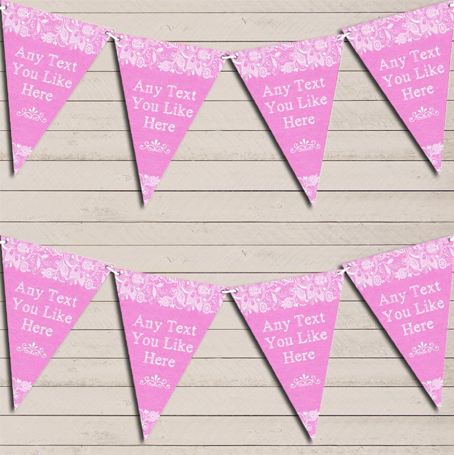 Pretty Lace Baby Pink Engagement Bunting Garland Party Banner