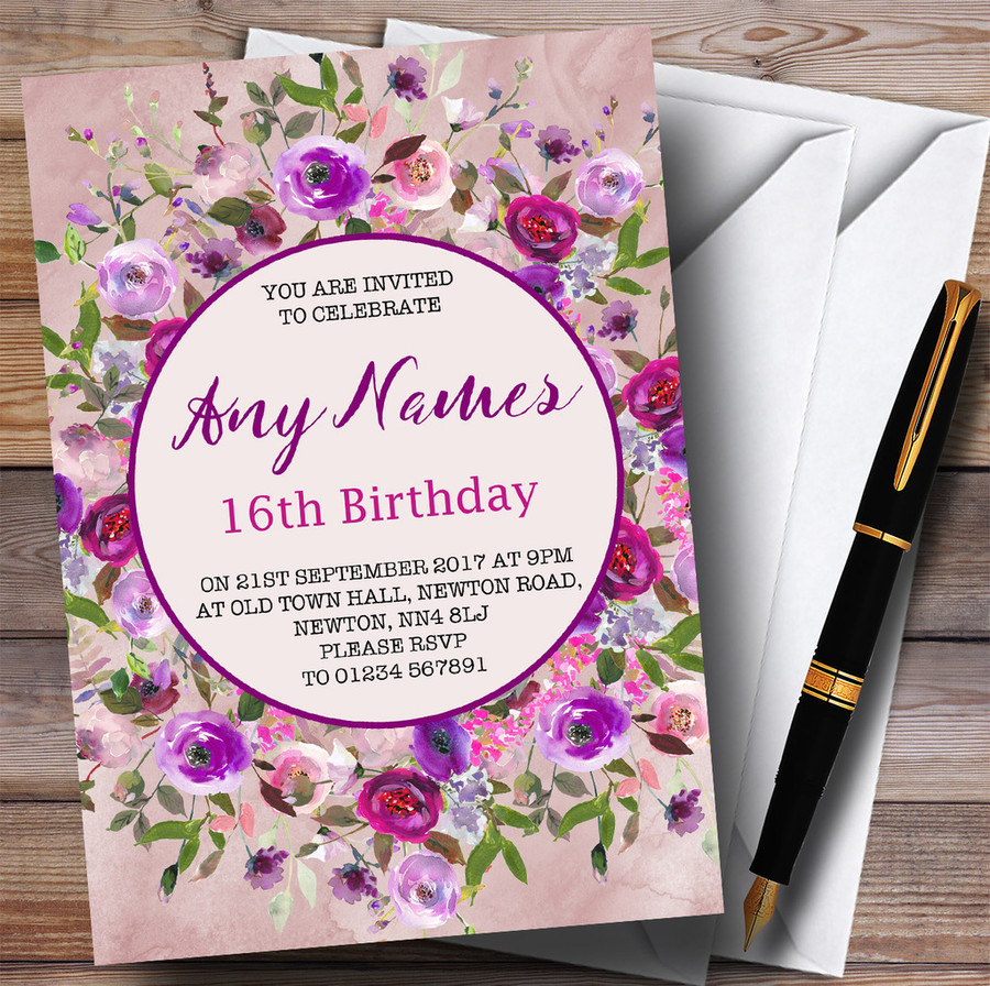 Pink & Purple Watercolour Floral 16th Customised Birthday Party Invitations