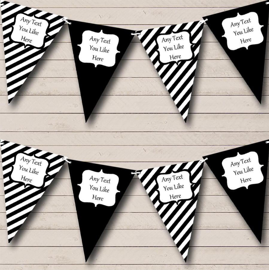 Black And White Stripes Nautical Sailing Beach Seaside Bunting