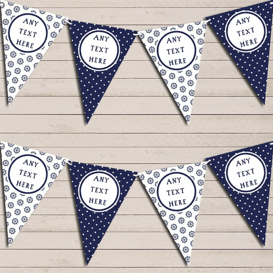 Navy Blue Nautical Seashore Sailing Polka Dot Party Bunting