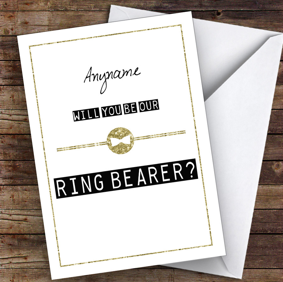 Black & White Bow Tie Will You Be My Ring Bearer Personalised Greetings Card