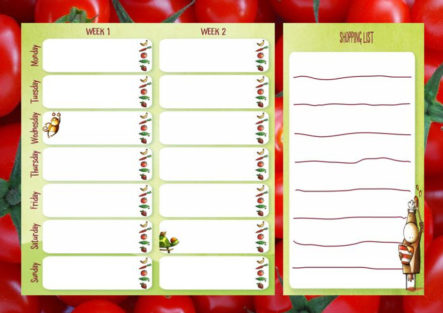 Tomatoes Two Week Meal Planner Chart