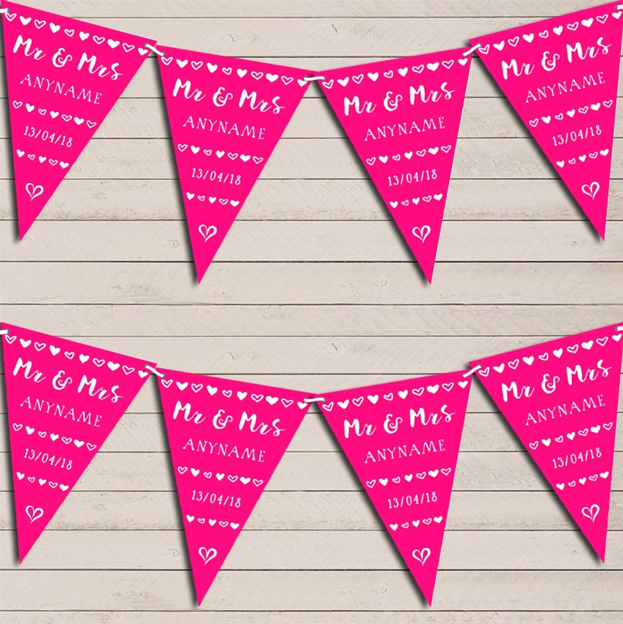Mr & Mrs Hearts Hot Fuchsia Bright Pink Wedding Day Married Bunting Party Banner