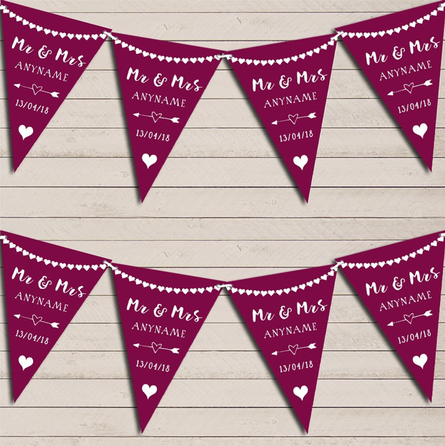 Heart Garland Mr & Mrs Mulberry Wedding Day Married Bunting Garland Party Banner