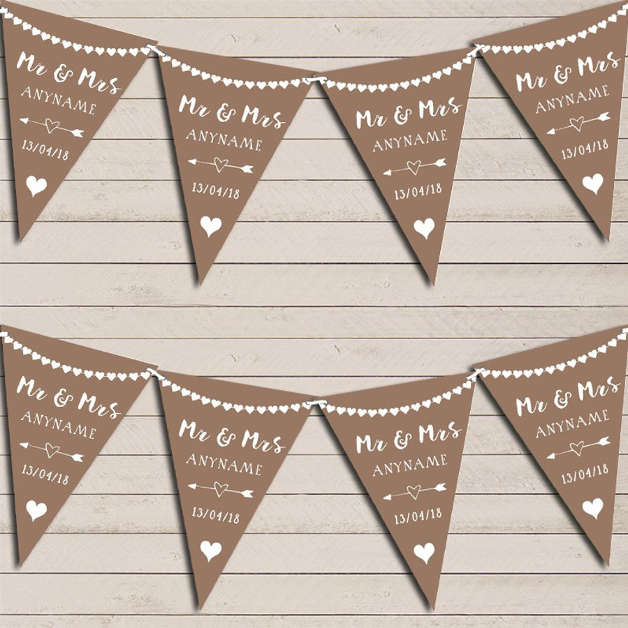 Heart Garland Mr & Mrs Mocha Wedding Day Married Bunting Garland Party Banner