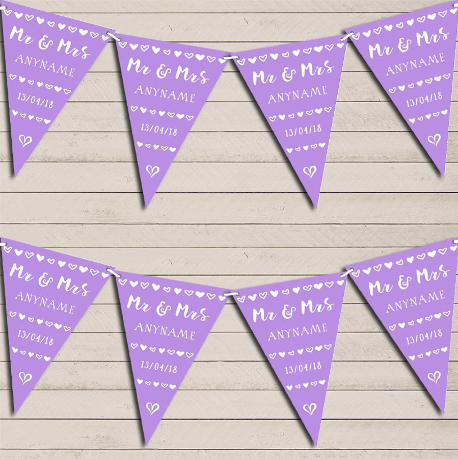 Mr & Mrs Hearts Lilac Purple Wedding Day Married Bunting Garland Party Banner