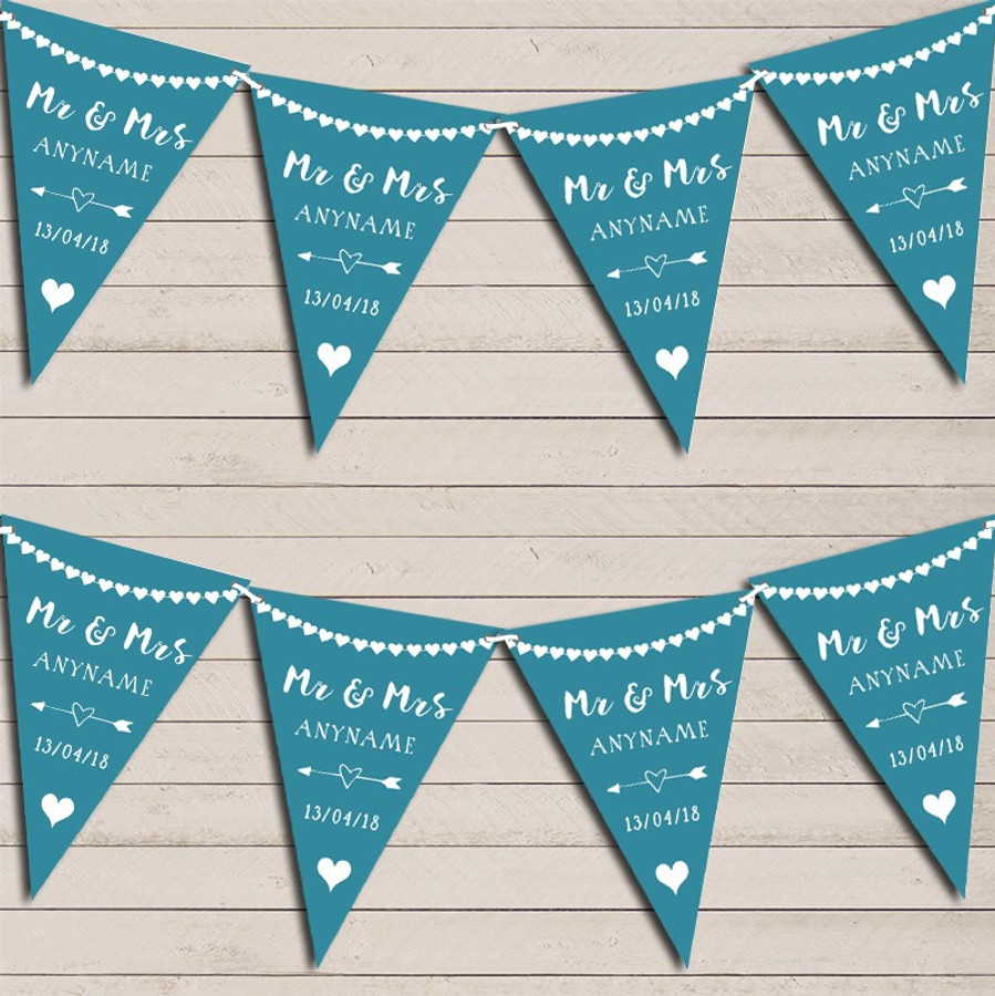 Heart Garland Mr & Mrs Teal Wedding Day Married Bunting Garland Party Banner