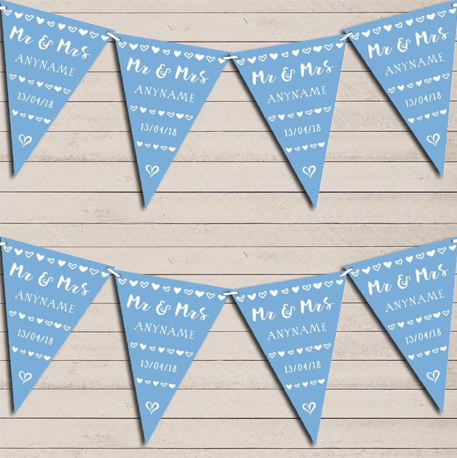 Mr & Mrs Hearts Powder Blue Wedding Day Married Bunting Garland Party Banner