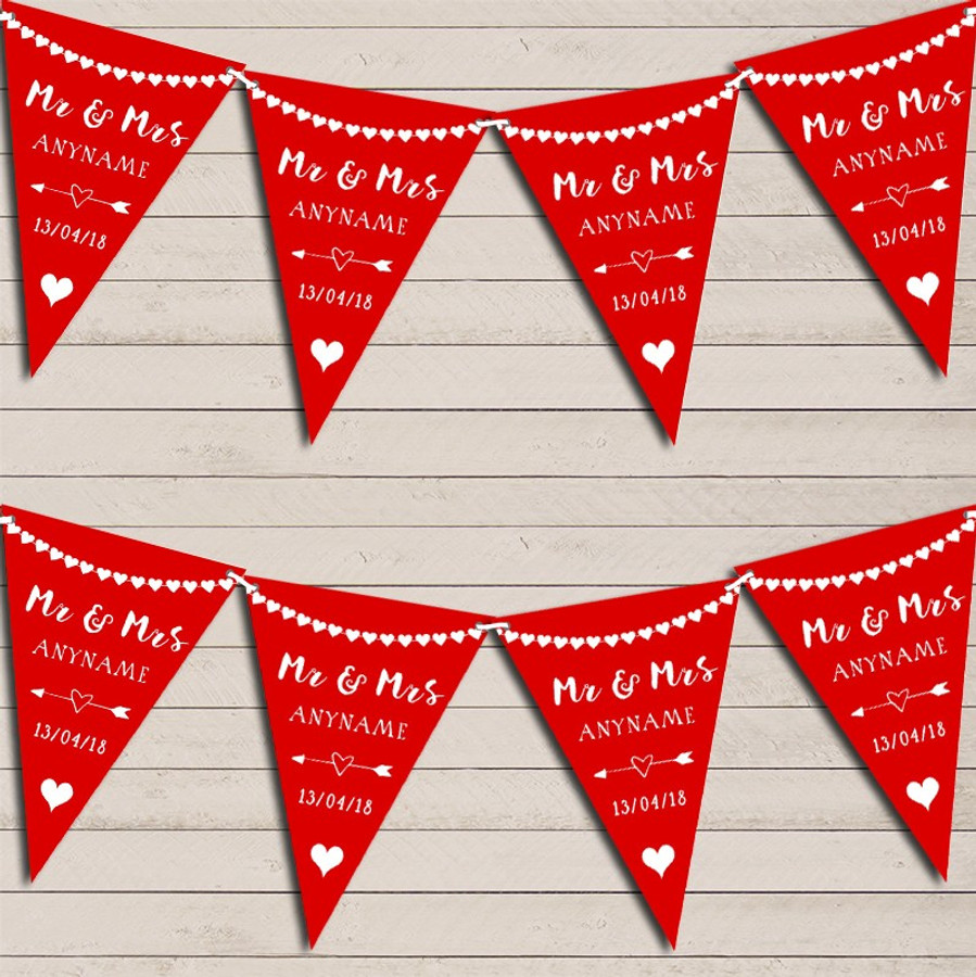Heart Garland Mr & Mrs Red Wedding Day Married Bunting Garland Party Banner