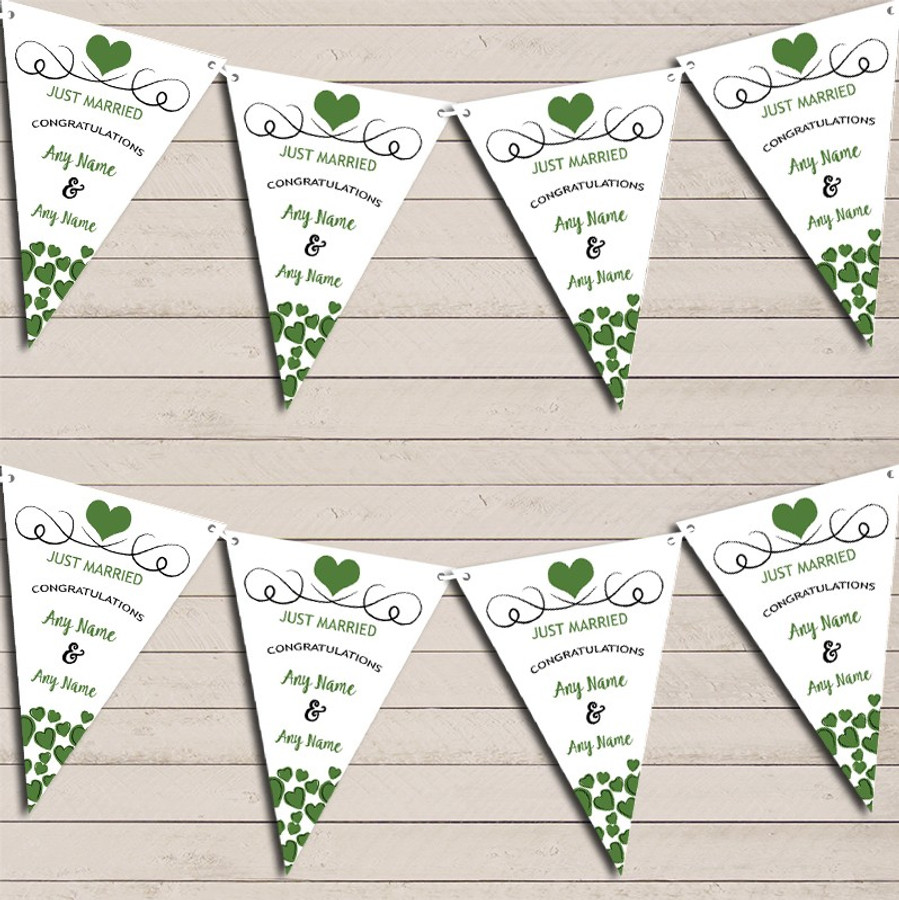 Hearts Decoration Just Married Deep Olive Green Wedding Day Bunting Banner