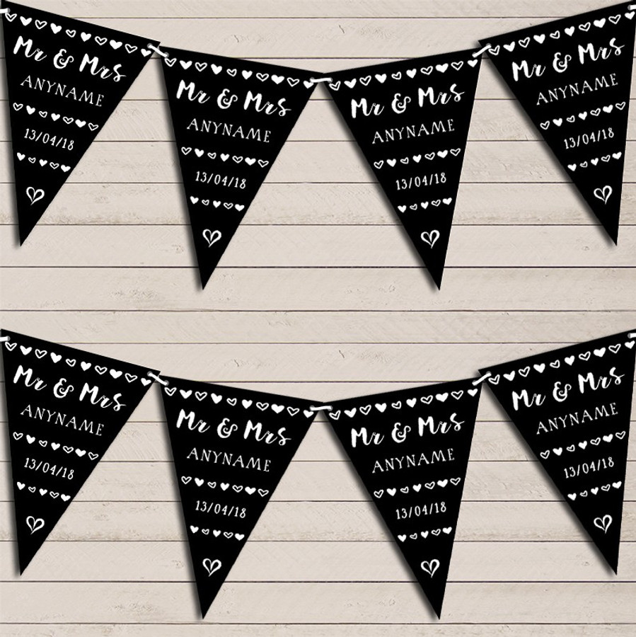 Mr & Mrs Hearts Black Wedding Day Married Bunting Garland Party Banner