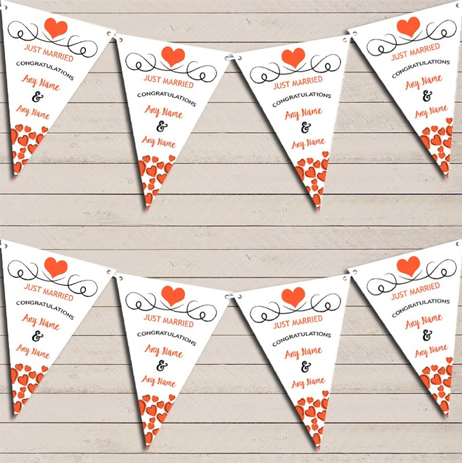 Hearts Decoration Just Married Deep Orange Wedding Day Bunting Banner