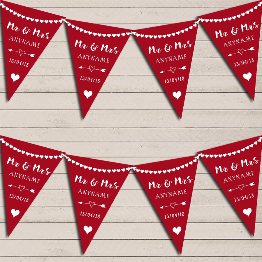 Heart Mr & Mrs Burgundy Red Wedding Day Married Bunting Party Banner