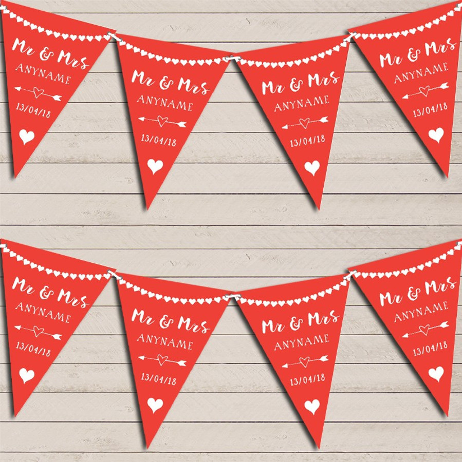 Heart Mr & Mrs Tropical Red Wedding Day Married Bunting Party Banner