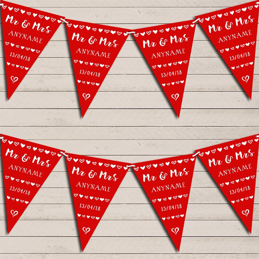 Mr & Mrs Hearts Red Wedding Day Married Bunting Garland Party Banner