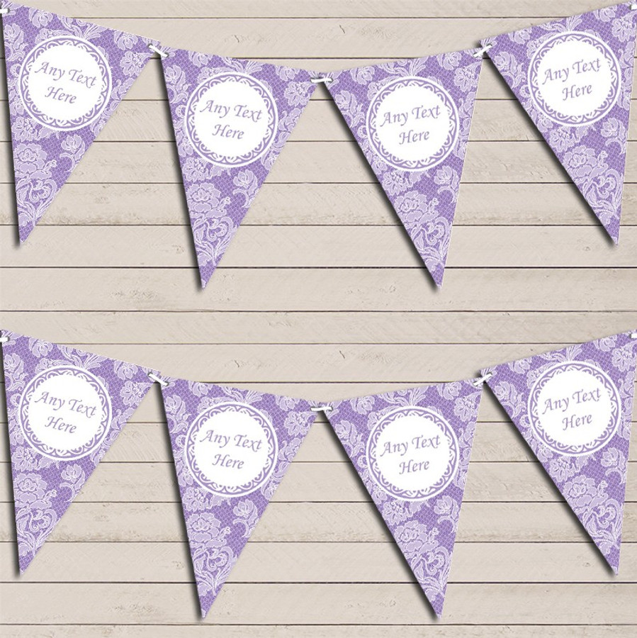 Lace Pattern Purple Wedding Day Married Bunting Garland Party Banner