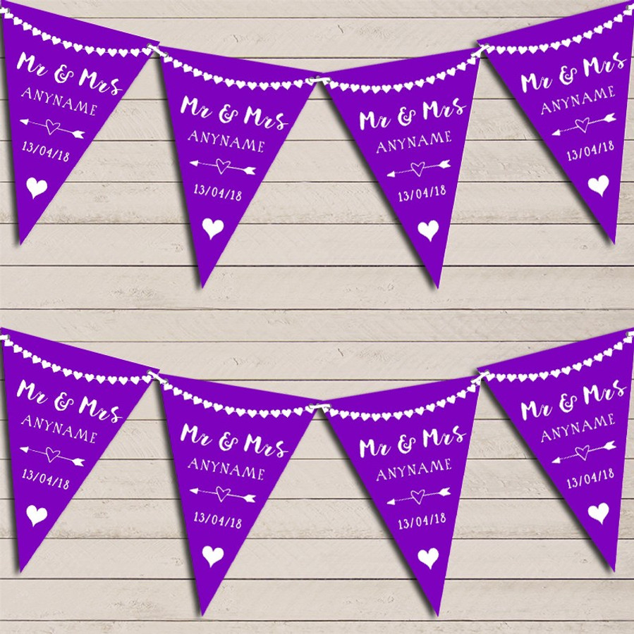 Heart Mr & Mrs Deep Purple Wedding Day Married Bunting Party Banner