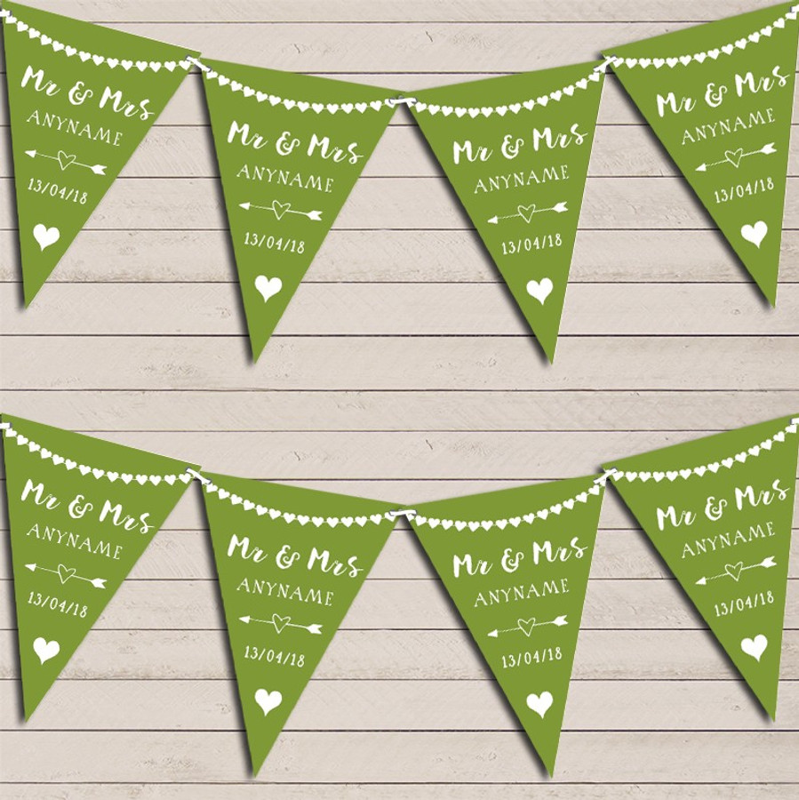 Heart Mr & Mrs Olive Green Wedding Day Married Bunting Party Banner