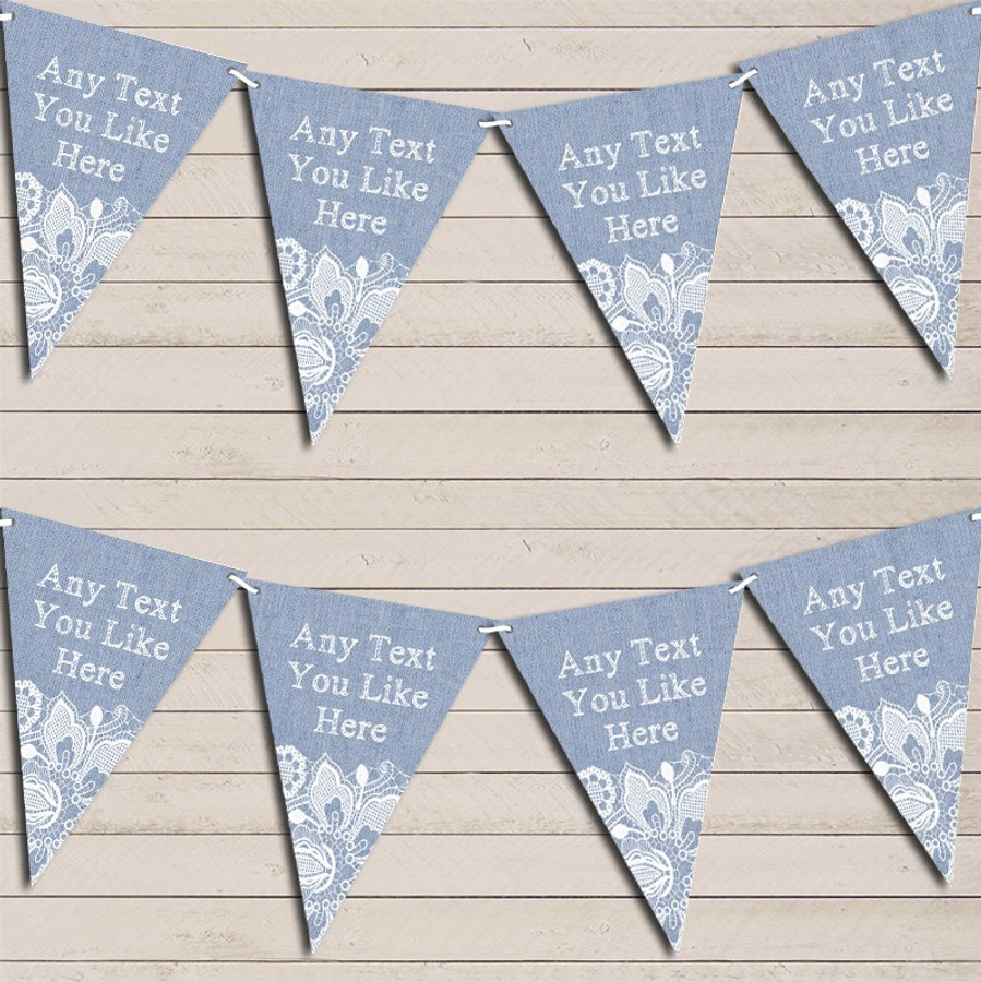 Blue Burlap & Lace Wedding Day Married Bunting Garland Party Banner