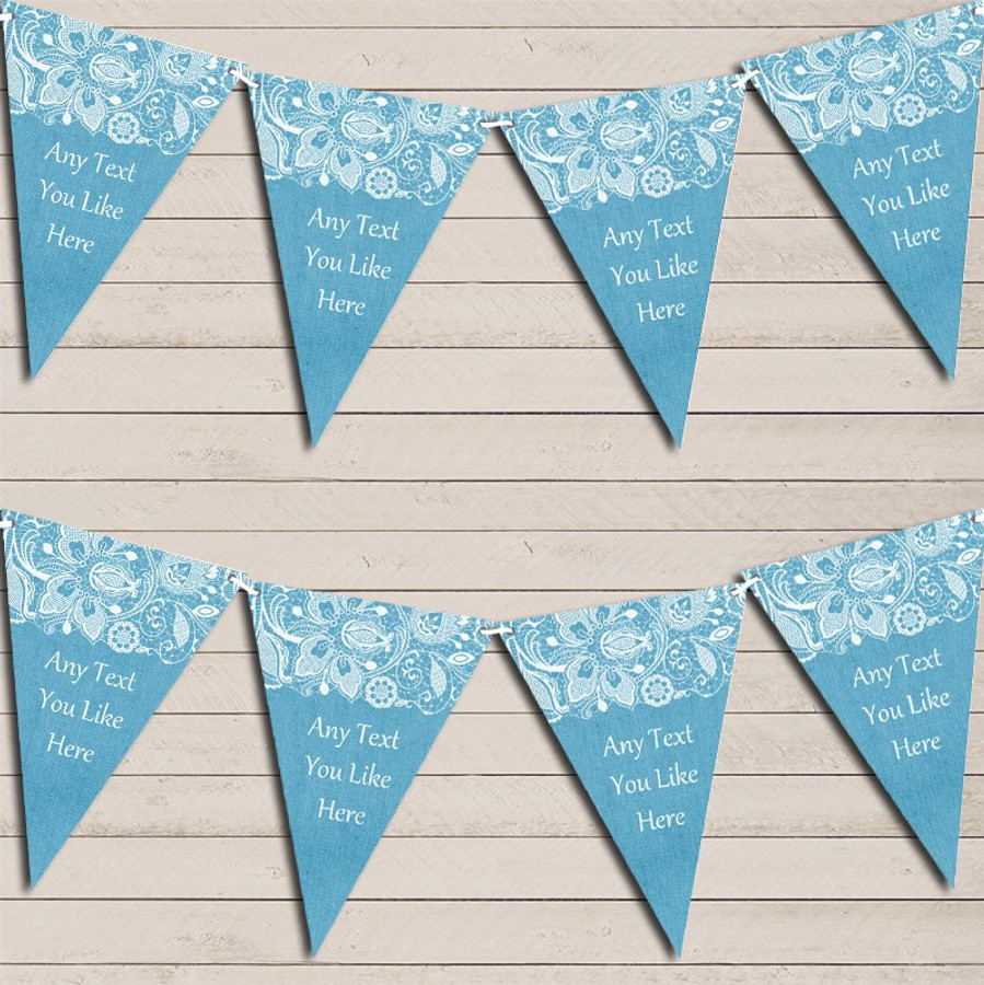 Burlap & Lace Blue Wedding Day Married Bunting Garland Party Banner