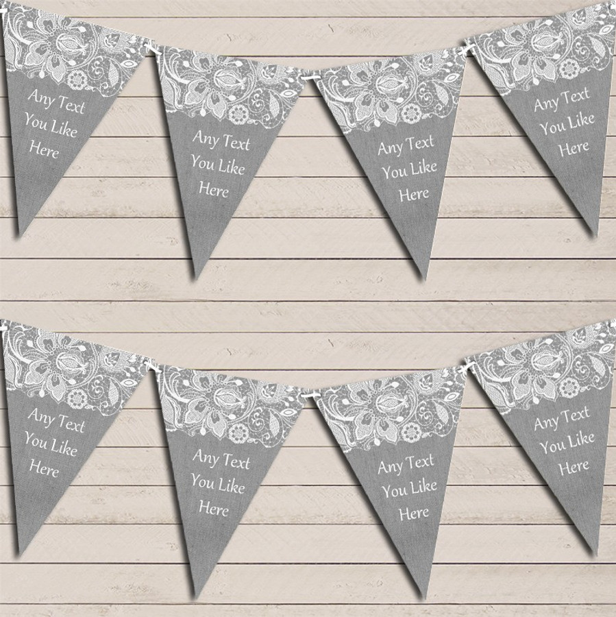 Burlap & Lace Grey Wedding Day Married Bunting Garland Party Banner