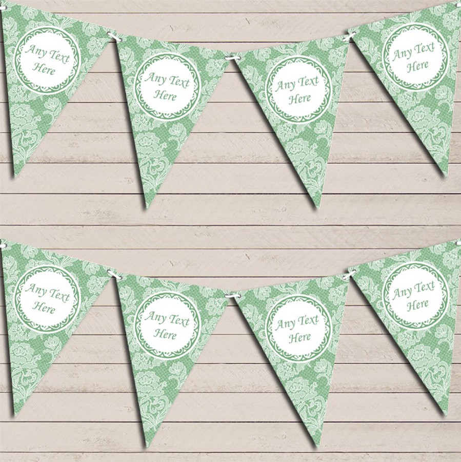 Lace Pattern Green Wedding Day Married Bunting Garland Party Banner