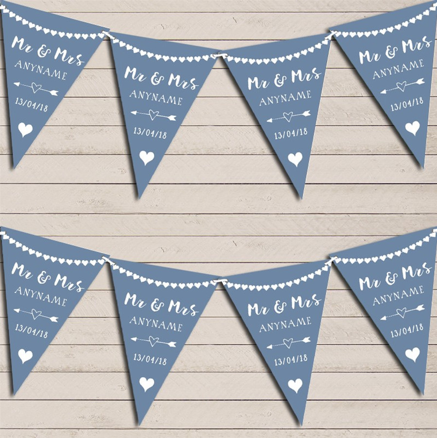 Heart Mr & Mrs Dusky Blue Wedding Day Married Bunting Party Banner