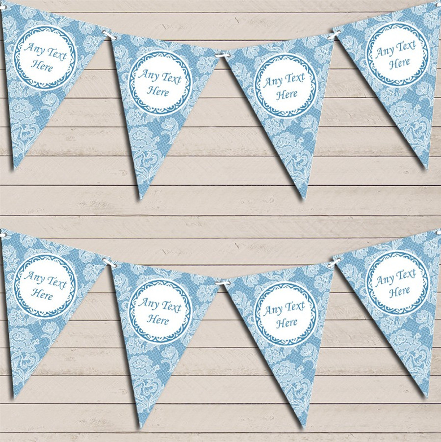 Lace Pattern Blue Wedding Day Married Bunting Garland Party Banner