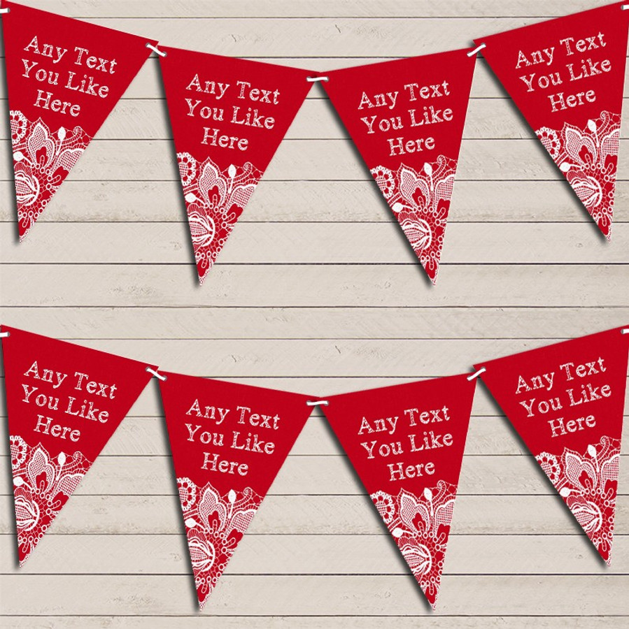 Red Burlap & Lace Wedding Day Married Bunting Garland Party Banner