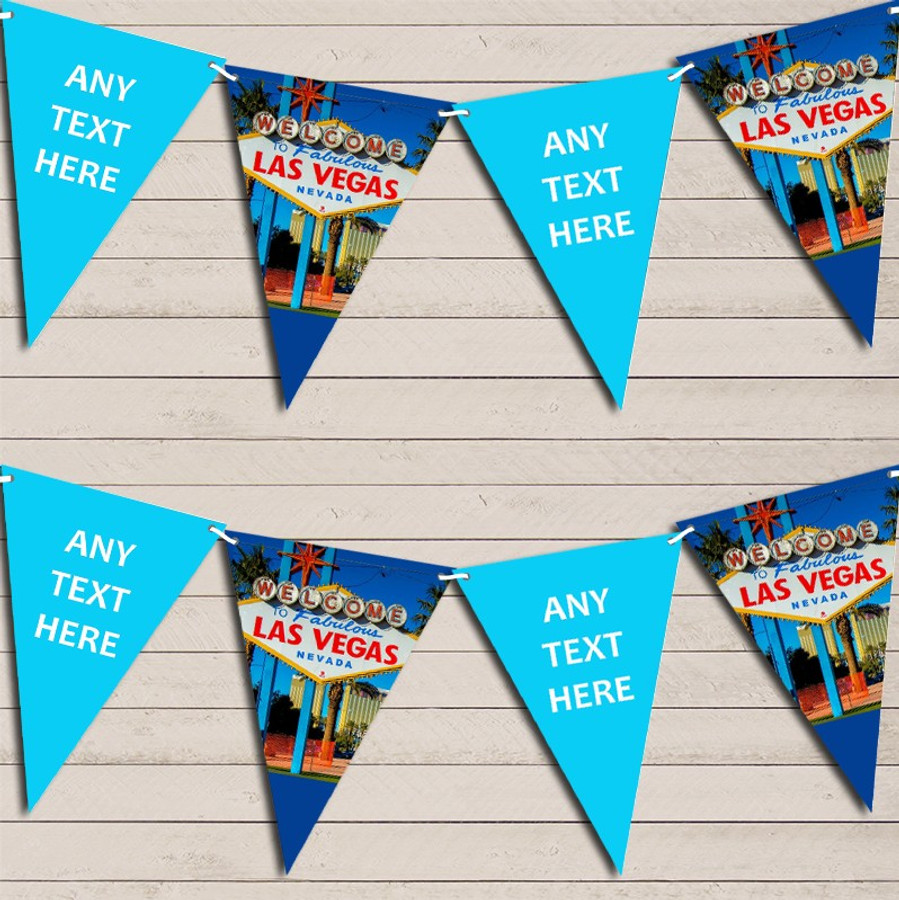 Blue Las Vegas Wedding Day Married Bunting Garland Party Banner
