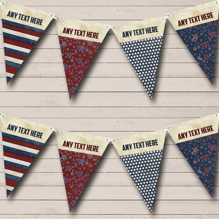 American Flag Stars 4th July Personalised Birthday Party Bunting