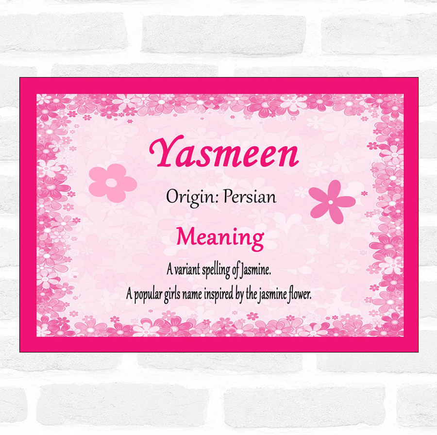Yasmeen Name Meaning Pink Certificate