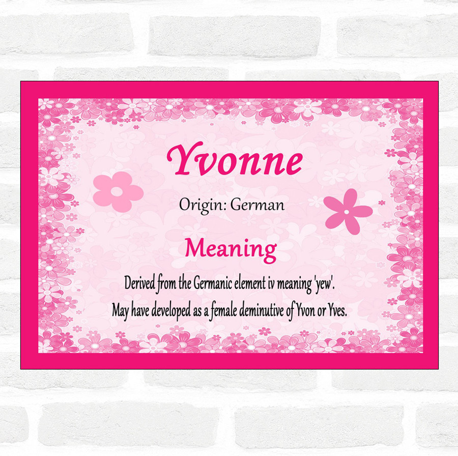 Yvonne Name Meaning Pink Certificate