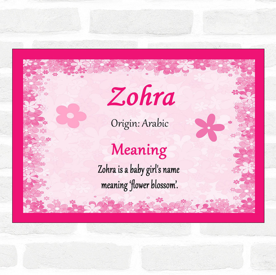 Zohra Name Meaning Pink Certificate