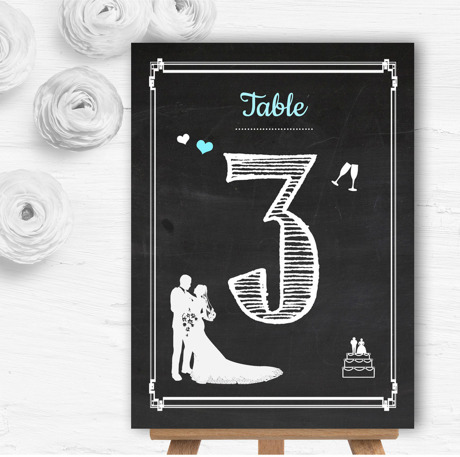 Chalkboard Aqua Personalised Wedding Table Number Name Cards