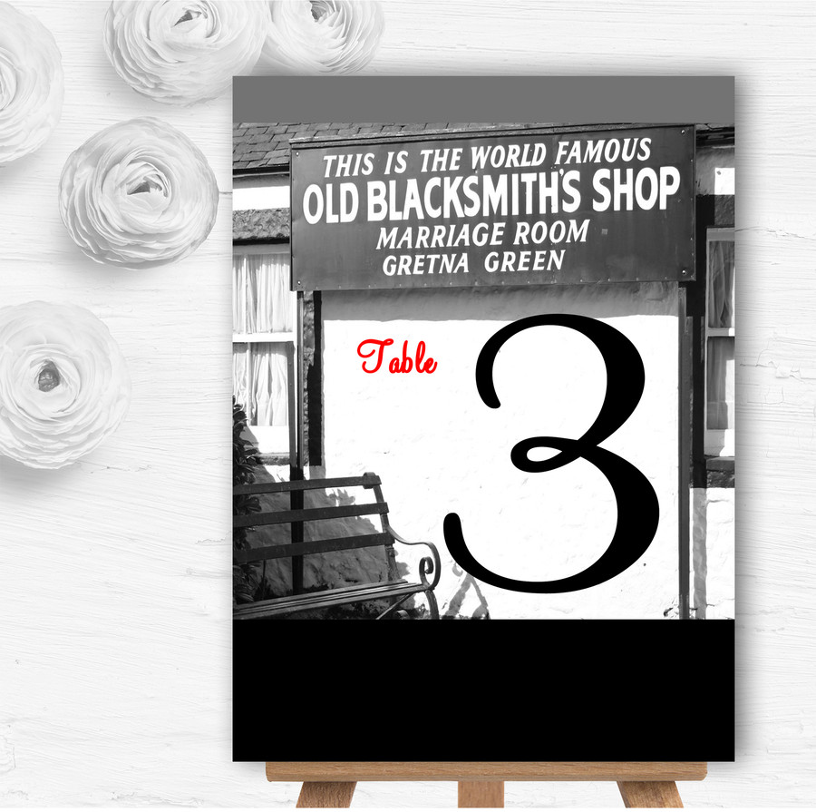 Gretna Green Personalised Wedding Table Number Name Cards