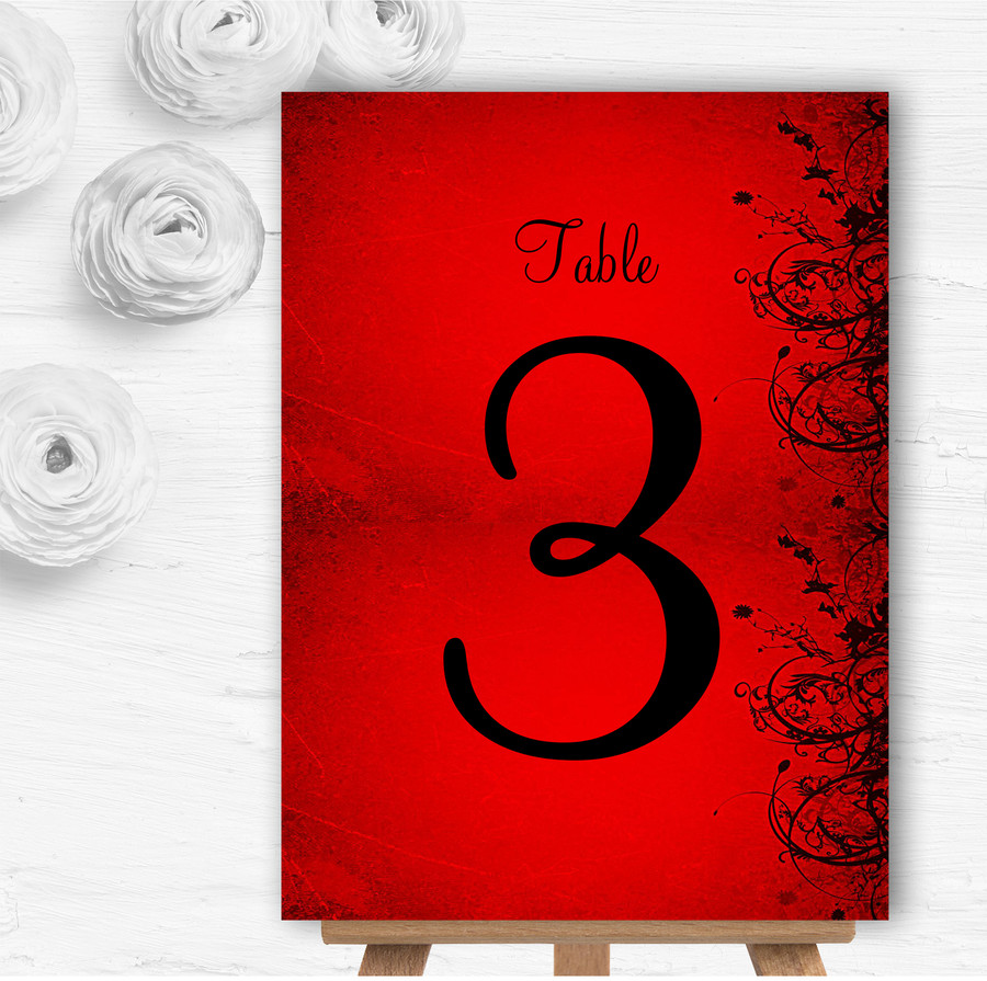 Red Flare Personalised Wedding Table Number Name Cards