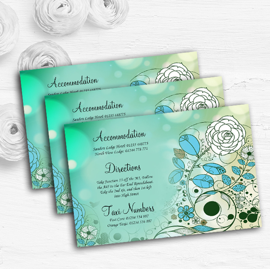 Aqua Turquoise Personalised Wedding Guest Information Cards