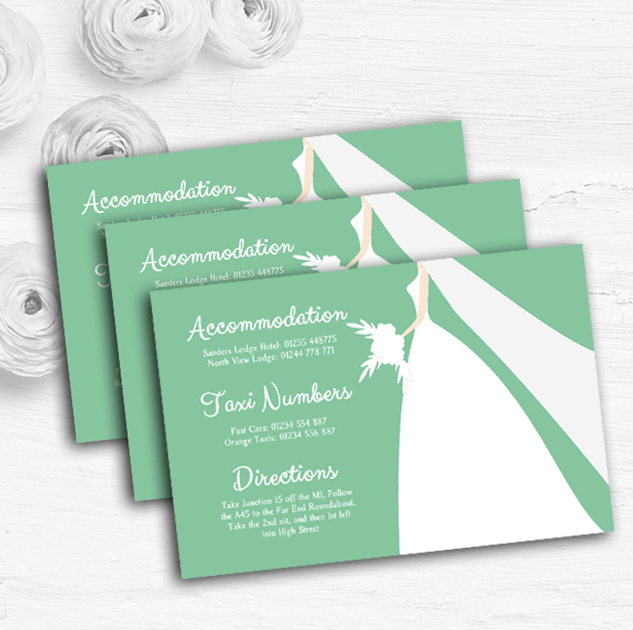 Green Bride Personalised Wedding Guest Information Cards